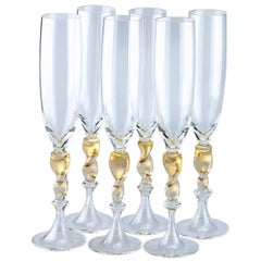 Set of six Seguso Murano Glass flute with gold leaf twisted steam detail