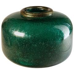 Seguso for Bisazza Emerald Murano Pulegoso Vase Gold Leaf Rim, 1993 Signed