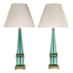 Seguso for Marbro Hollywood Regency Murano Aqua Glass Obelisk Lamps