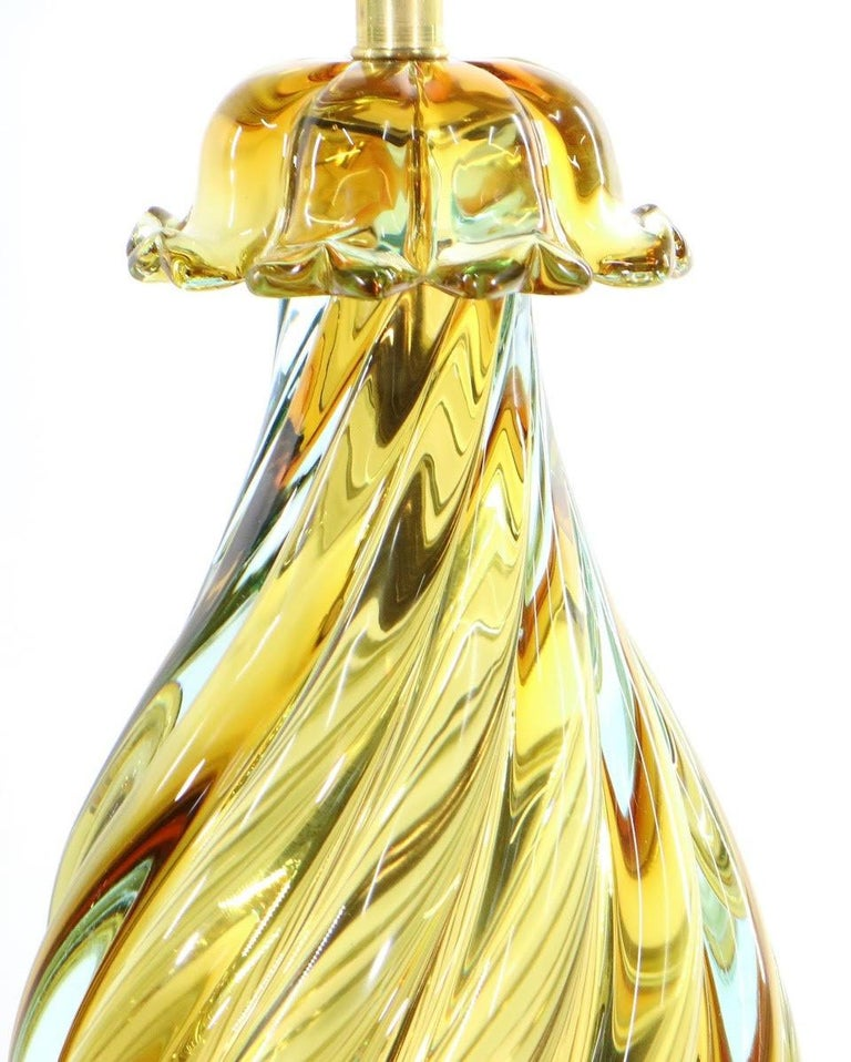 Seguso For Marbro Hollywood Regency Murano Glass Table Lamps For Sale 5