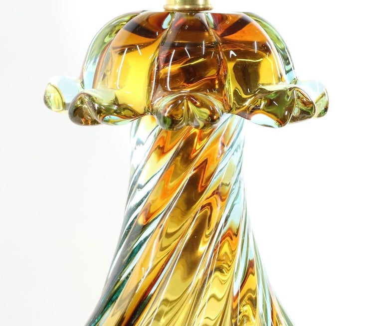 Italian Seguso For Marbro Hollywood Regency Murano Glass Table Lamps For Sale