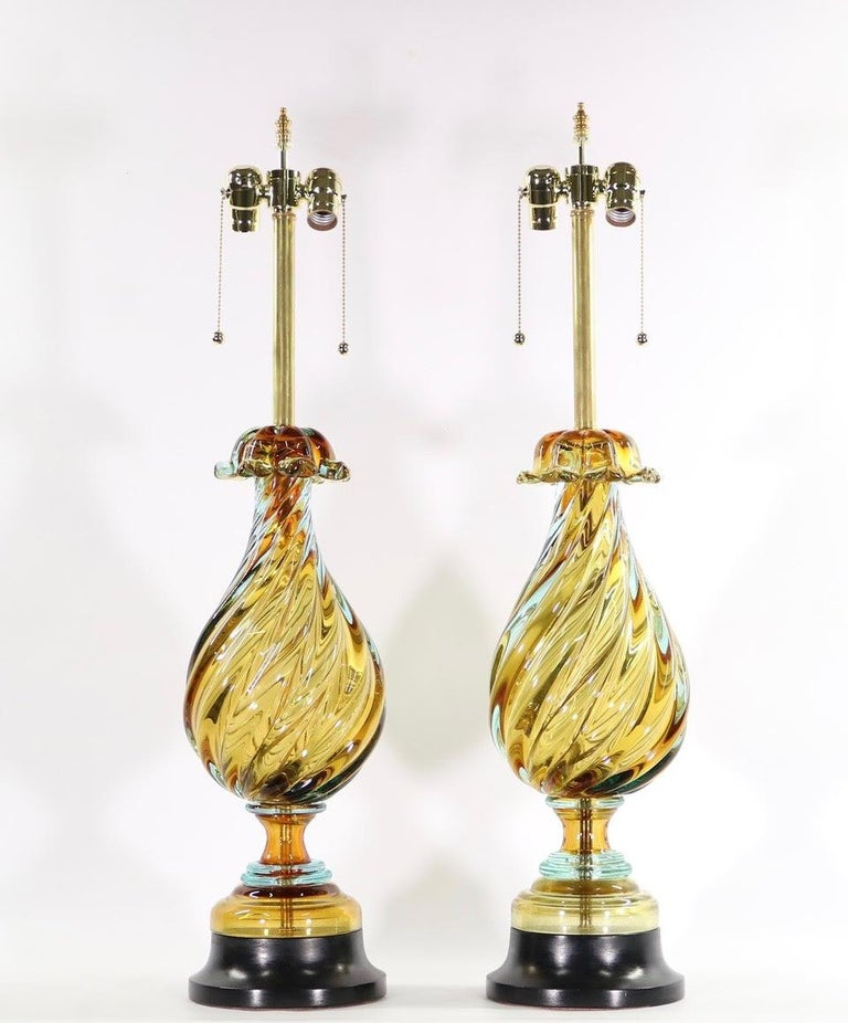 Seguso For Marbro Hollywood Regency Murano Glass Table Lamps In Excellent Condition For Sale In New York, NY