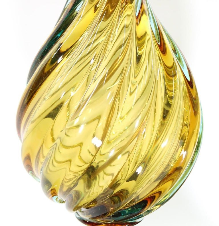 Mid-20th Century Seguso For Marbro Hollywood Regency Murano Glass Table Lamps For Sale
