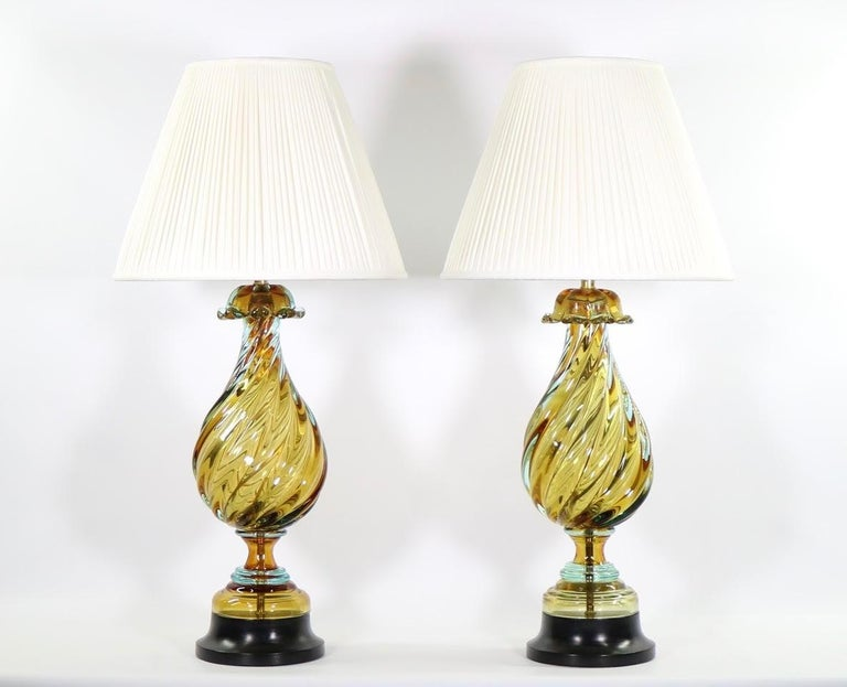 Seguso For Marbro Hollywood Regency Murano Glass Table Lamps For Sale 1