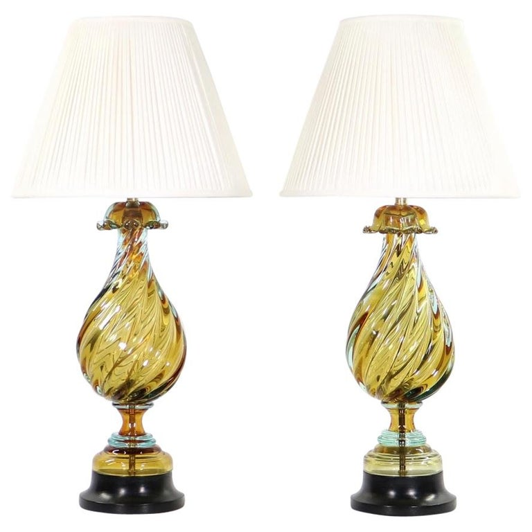 Seguso For Marbro Hollywood Regency Murano Glass Table Lamps For Sale