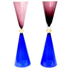 Seguso for Oggetti Murano Glass Tall Sculptures or Vases Italian Vintage, Pair