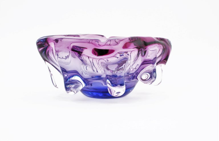 20th Century Seguso Murano Pink, Purple & Blue Sommerso Glass Centerpiece Bowl, 1960s For Sale