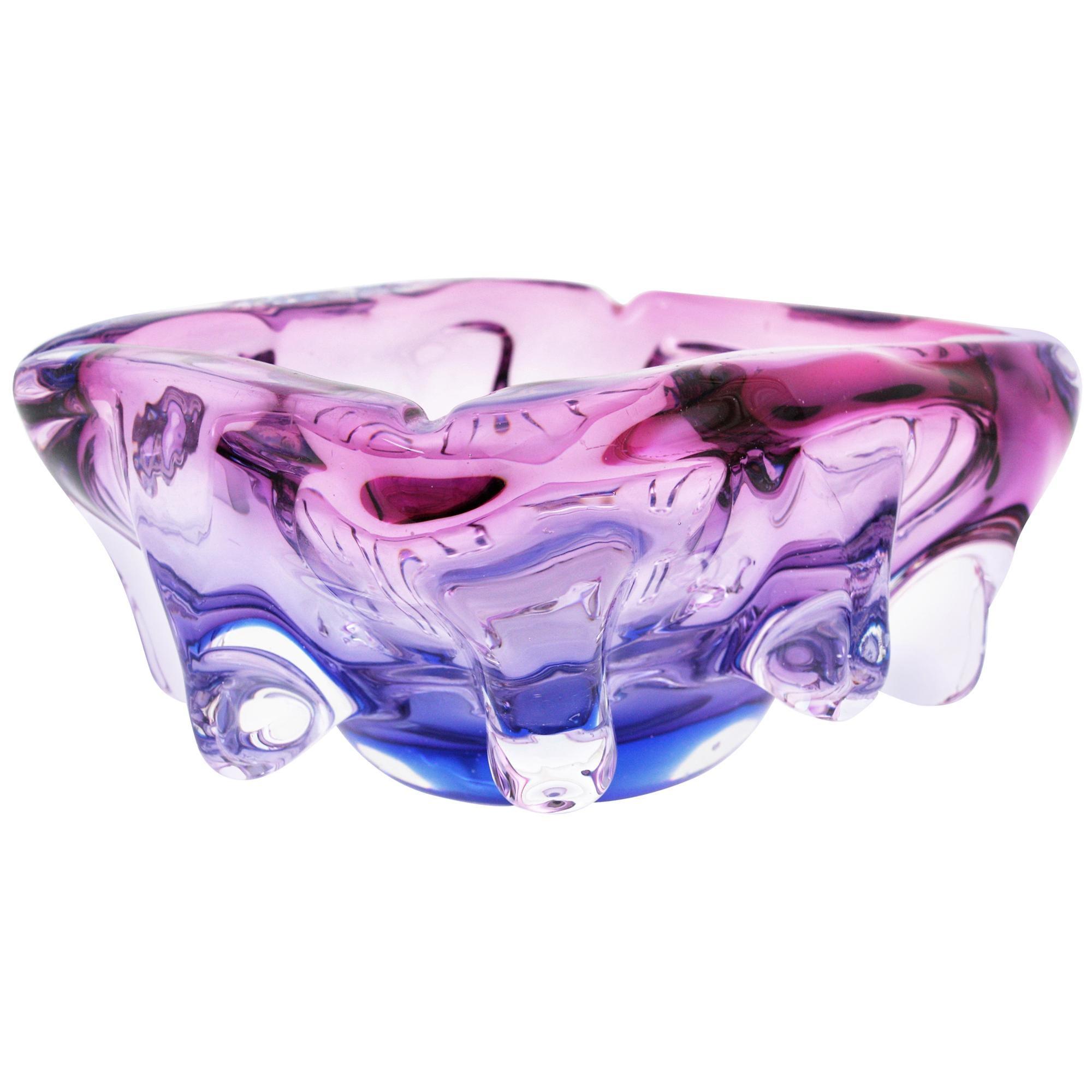 Seguso Murano Pink, Purple & Blue Sommerso Glass Centerpiece Bowl, 1960s