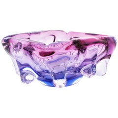 Seguso Hand Blown Pink, Purple & Blue Sommerso Murano Glass Bowl / Centerpiece