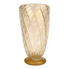Seguso Italian Modernist Gold and Clear Murano Glass Vase