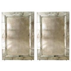 Seguso Italian Venetian Murano Etched Glass Wall Mirror