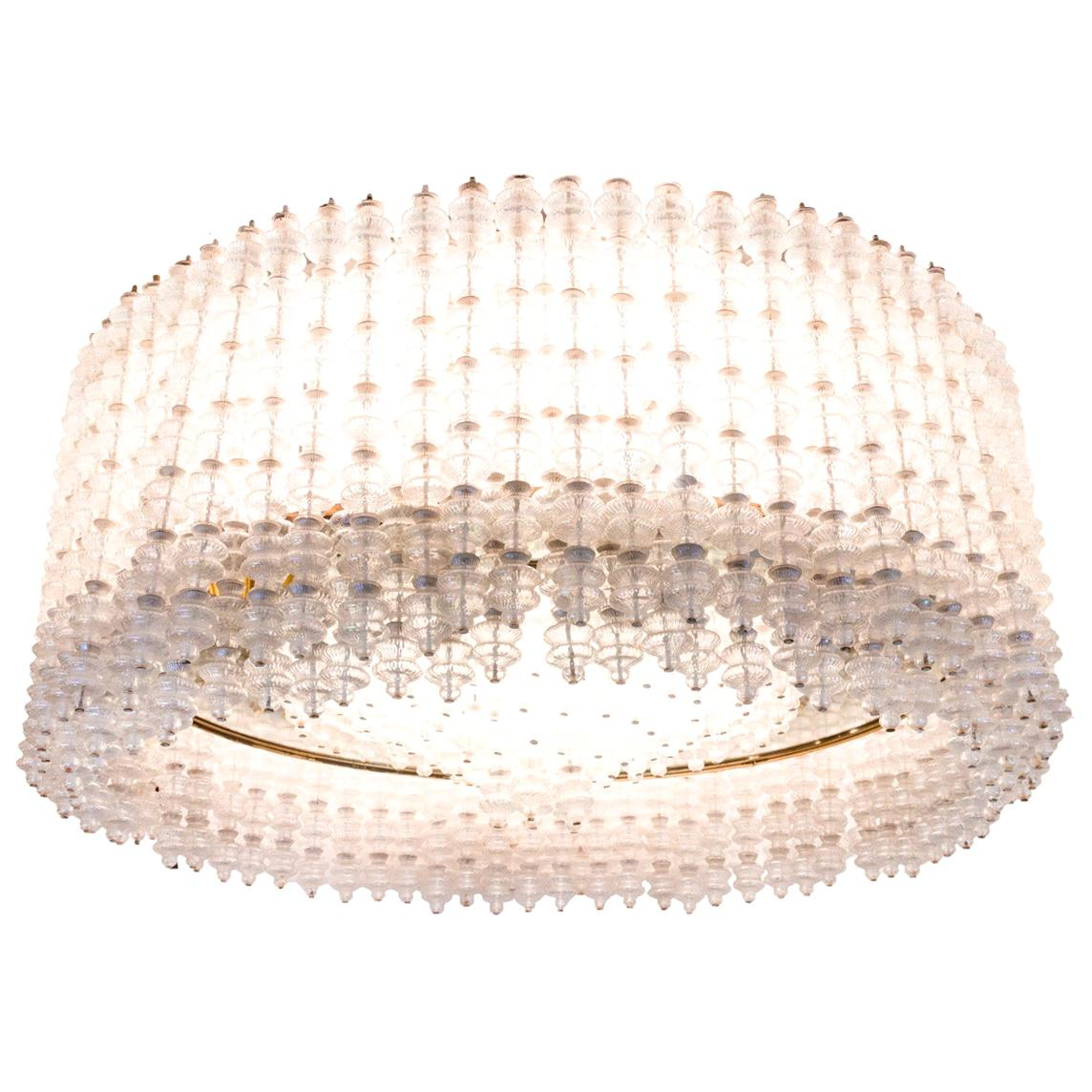 Seguso, Large Chandelier in Murano Glass, 1950s
