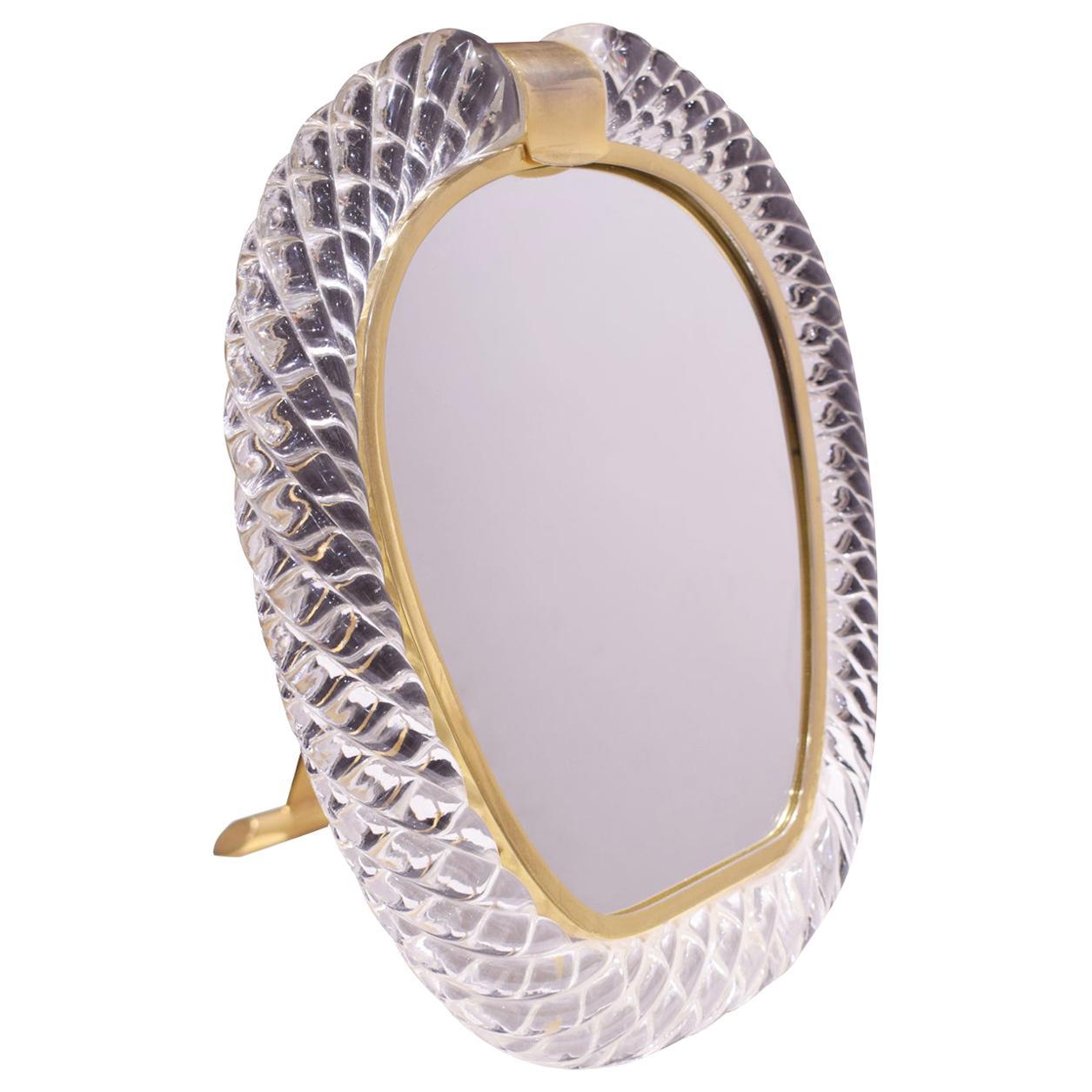 Seguso Large Hand Blown Vanity Mirror 1981 'Signed'