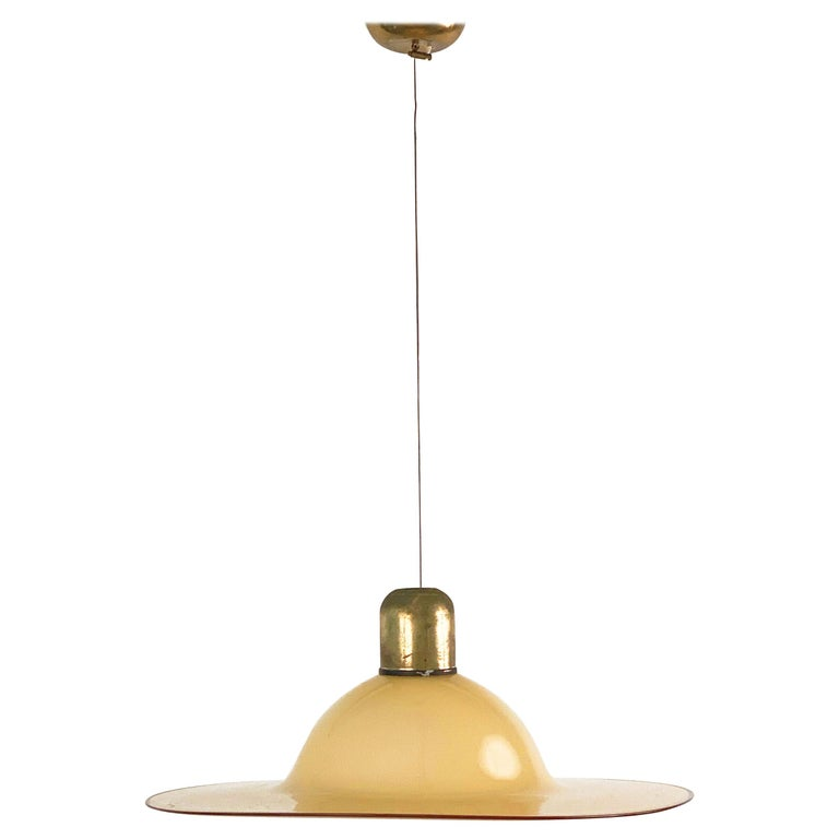 Seguso Midcentury Amber Murano Glass and Brass Italian Chandelier, 1960s For Sale