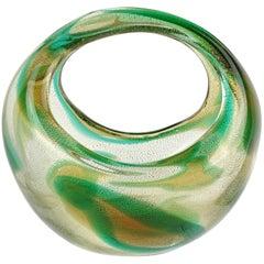 Seguso Murano 1952 Macchia Ambra Verde Gold Flecks Italian Art Glass Basket Vase