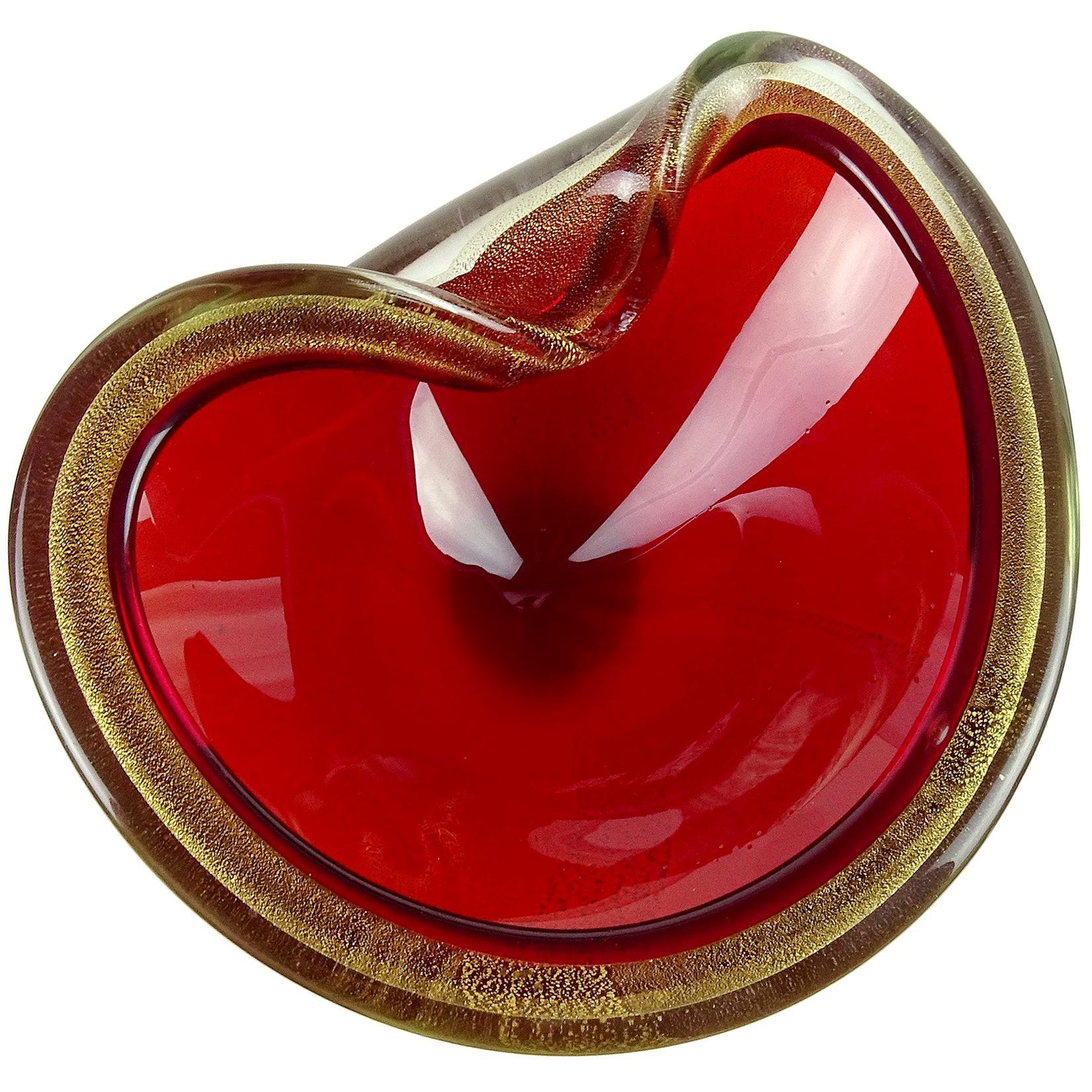Seguso Murano Bright Red and Gold Flecks Italian Art Glass Decorative Bowl