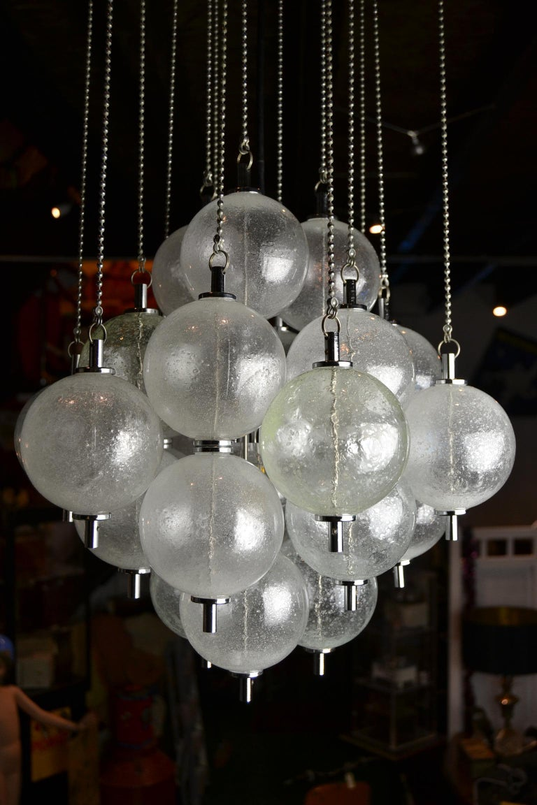 Seguso Murano Bubble Chandelier with Chains, Italy, Mid-20th Century For Sale 9
