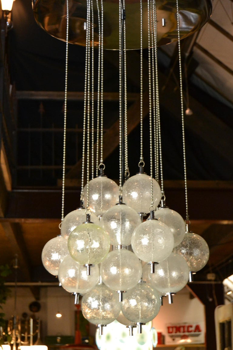 Seguso Murano Bubble Chandelier with Chains, Italy, Mid-20th Century For Sale 10
