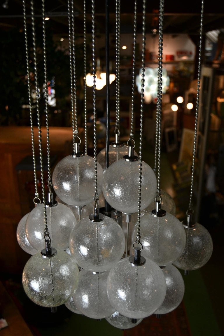 Seguso Murano Bubble Chandelier with Chains, Italy, Mid-20th Century For Sale 11