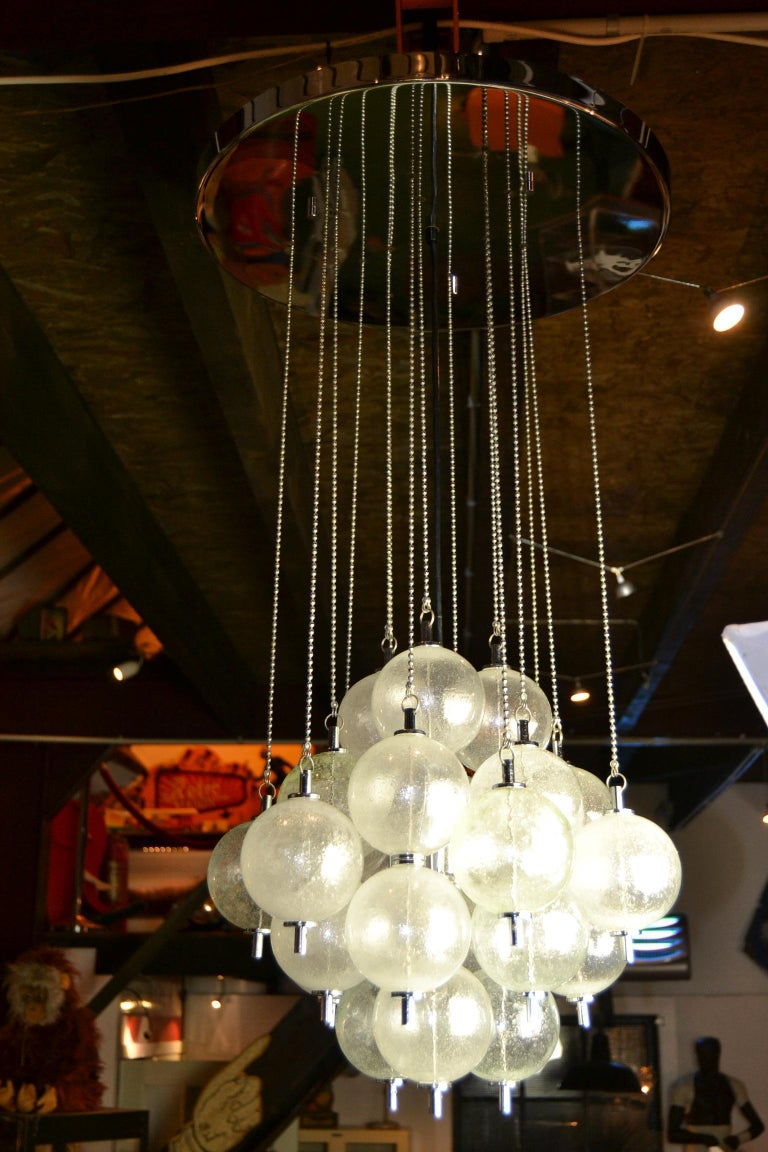 Seguso Murano Bubble Chandelier with Chains, Italy, Mid-20th Century For Sale 12