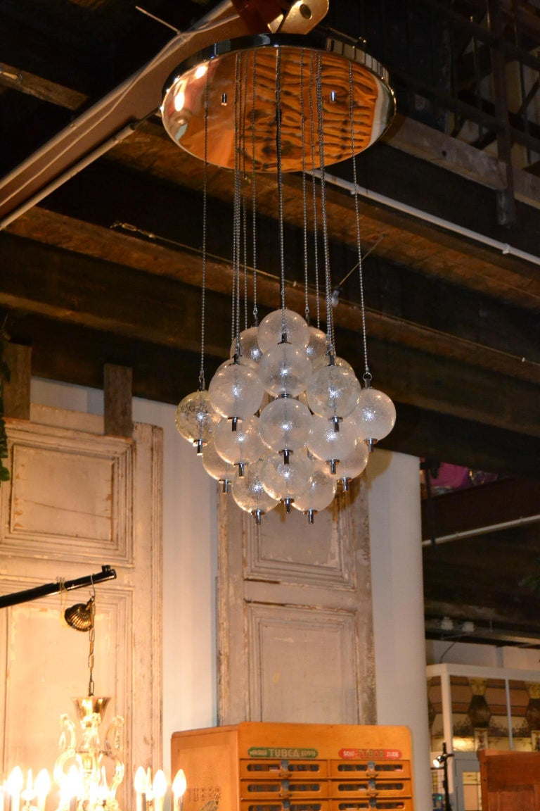 Seguso Murano Bubble Chandelier with Chains, Italy, Mid-20th Century For Sale 14