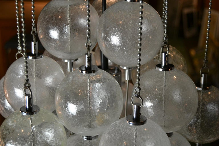 Seguso Murano Bubble Chandelier with Chains, Italy, Mid-20th Century For Sale 1