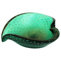 Seguso Murano Bullicante Green Gold Dusted Art Glass Heart Bowl