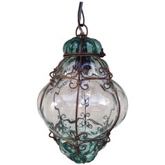 Seguso Murano Caged Glass Pendant Light, Italy, 1940s