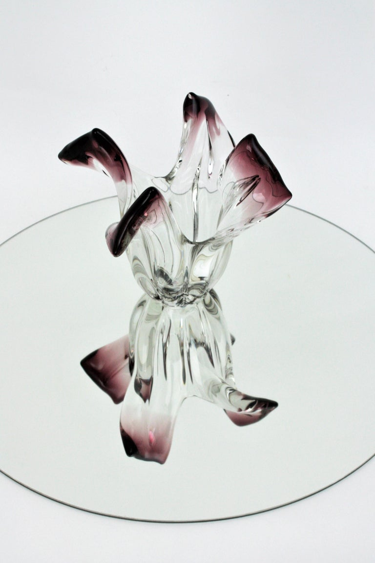 Seguso Murano Glass Sommerso Clear and Purple Twisted Vase, 1960s For Sale 4