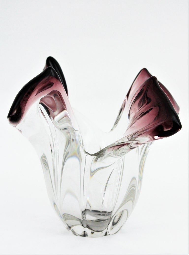 Seguso Murano Glass Sommerso Clear and Purple Twisted Vase, 1960s For Sale 6