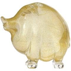 Seguso Murano Gold Flecks Italian Art Glass Little Pig Figurine Sculpture