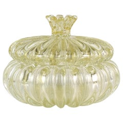Seguso Murano Gold Flecks Italian Art Glass Ribbed Vanity Jewelry Powder Box