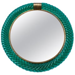 Seguso Murano Green Glass Vanity Mirror