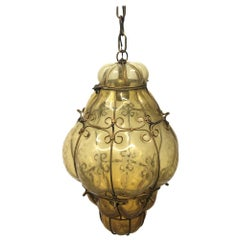Seguso Murano Hand Blown Cage Light Pendant