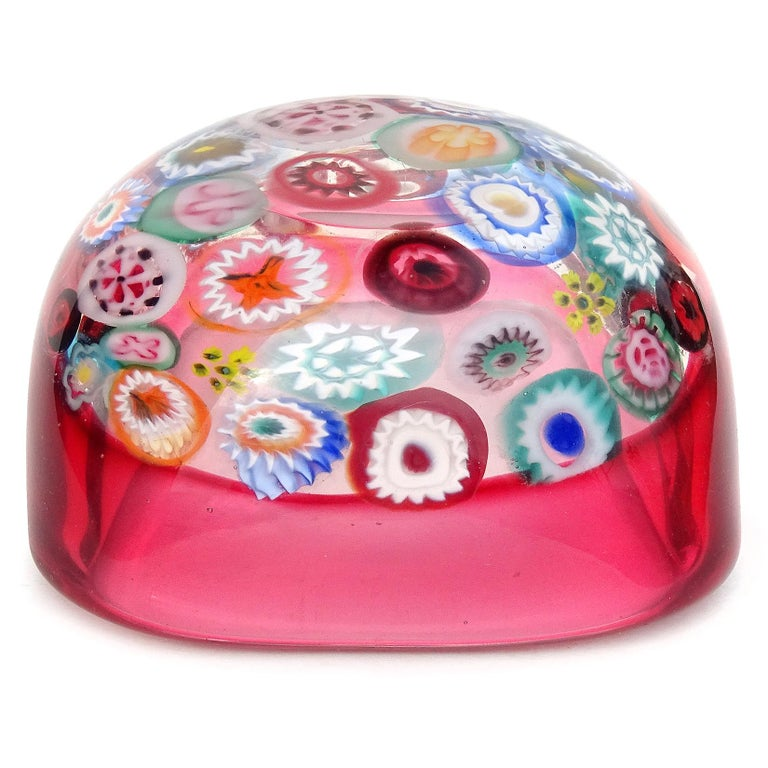 Mid-20th Century Seguso Murano Millefiori Flower Canes Italian Art Glass Pink Incalmo Rim Bowl For Sale