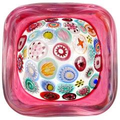 Seguso Murano Millefiori Flower Canes Italian Art Glass Pink Incalmo Rim Bowl