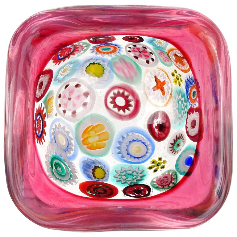 Seguso Murano Millefiori Flower Canes Italian Art Glass Pink Incalmo Rim Bowl For Sale
