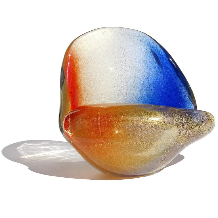 Seguso Murano Orange Blue Gold Flecks Italian Art Glass Seashell Sculpture Bowl In Good Condition For Sale In Kissimmee, FL