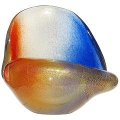 Seguso Murano Orange Blue Gold Flecks Italian Art Glass Seashell Sculpture Bowl