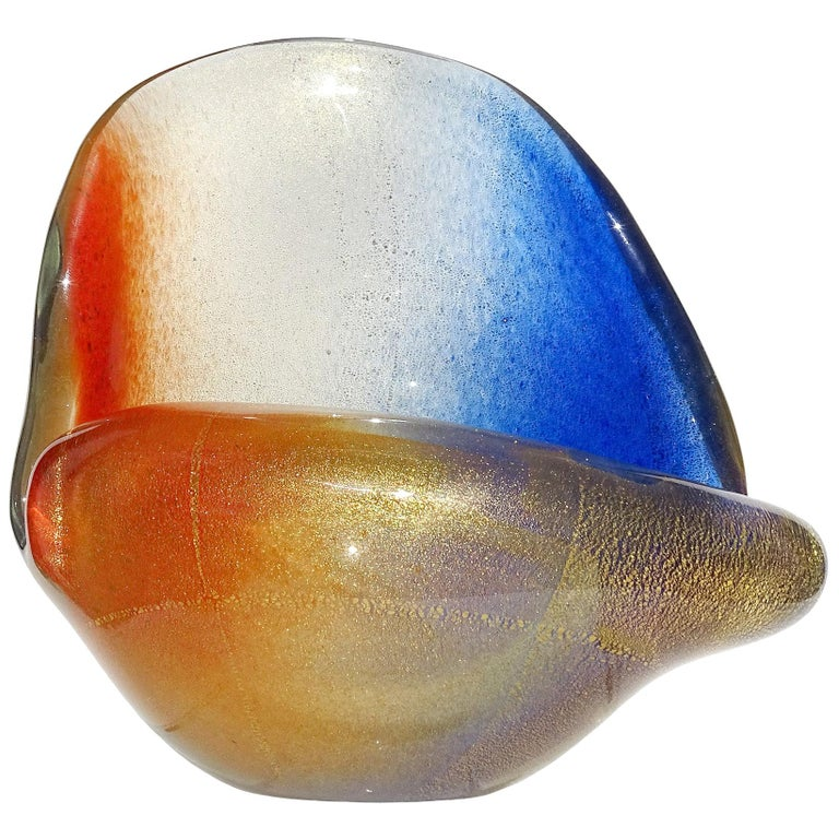 Seguso Murano Orange Blue Gold Flecks Italian Art Glass Seashell Sculpture Bowl For Sale