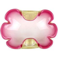 Seguso Murano Pink White Gold Flecks Italian Art Glass Midcentury Flower Bowl