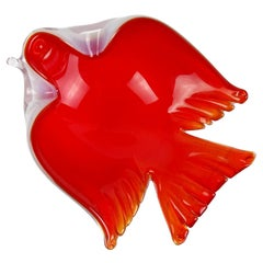 Seguso Murano Red Opalescent White Italian Art Glass Flying Bird Ring Bowl Dish