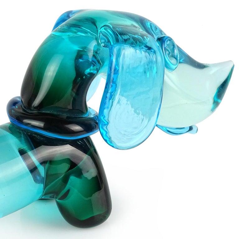 Mid-Century Modern Seguso Murano Sommerso Blue Green Italian Art Glass Dachshund Dog Sculpture For Sale
