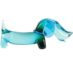 Seguso Murano Sommerso Blue Green Italian Art Glass Dachshund Dog Sculpture
