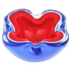 Seguso Murano Sommerso Blue Red Art Glass Bowl