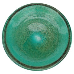 Seguso Murano Sommerso Green Gold Flecks Italian Art Glass Flat Catchall Bowl