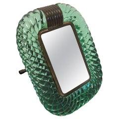 Seguso Murano Table Mirror or Picture Frame Color Emerald Green