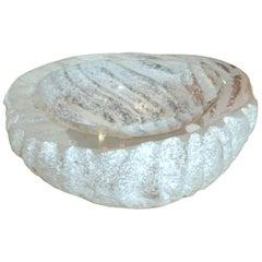 Seguso Murano Vetri d'Arte Acid Etched Corrosso White Glass Bowl Vintage