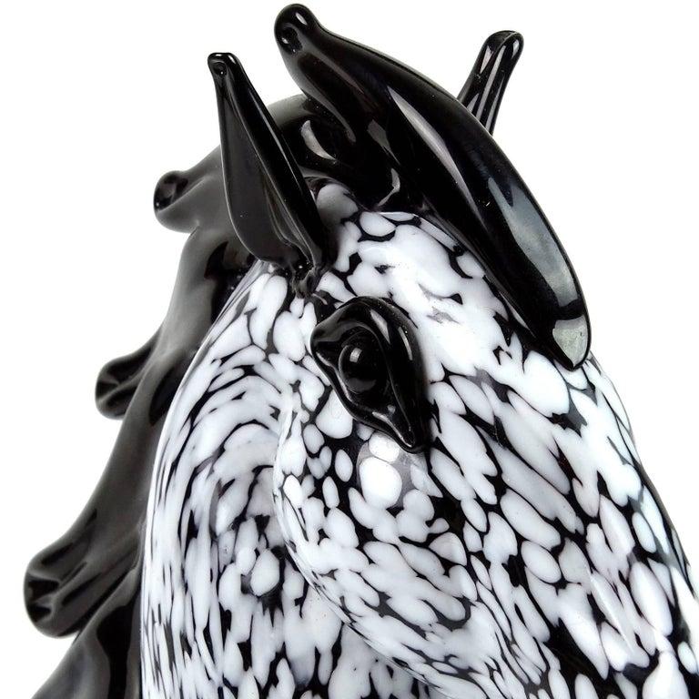 Mid-Century Modern Seguso Murano Vintage Black White Spots Italian Art Glass Horse Head Sculpture For Sale