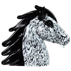 Seguso Murano Vintage Black White Spots Italian Art Glass Horse Head Sculpture
